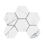 4x4 Statuario Hexagon Marble Mosaic Polished