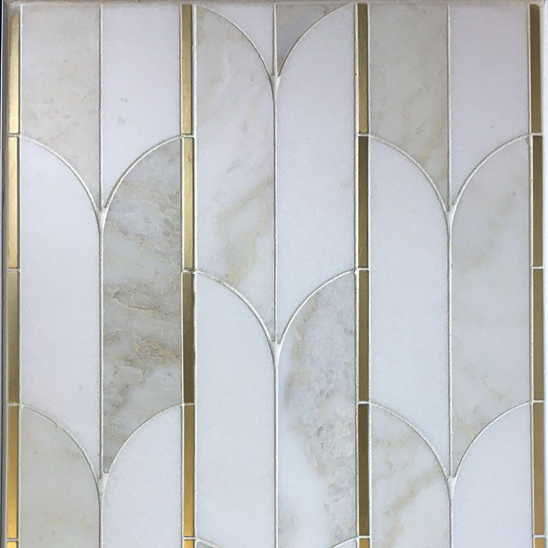 Thassos Cloud Nine Marble Brass Polished Mosaic Tile - TILE AND MOSAIC DEPOT