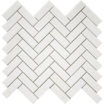 Thassos White Marble 1x3 Herringbone Polished Mosaic Tile - TILE AND MOSAIC DEPOT