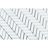 Thassos White Marble Mini Chevron Polished Mosaic Tile - TILE AND MOSAIC DEPOT