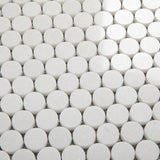 Thassos White Marble Penny Round Honed Mosaic Tile - TILE AND MOSAIC DEPOT