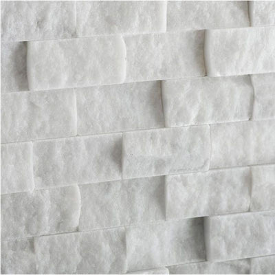 Thassos White Marble 1x2 Split Face Mosaic Tile - TILE AND MOSAIC DEPOT