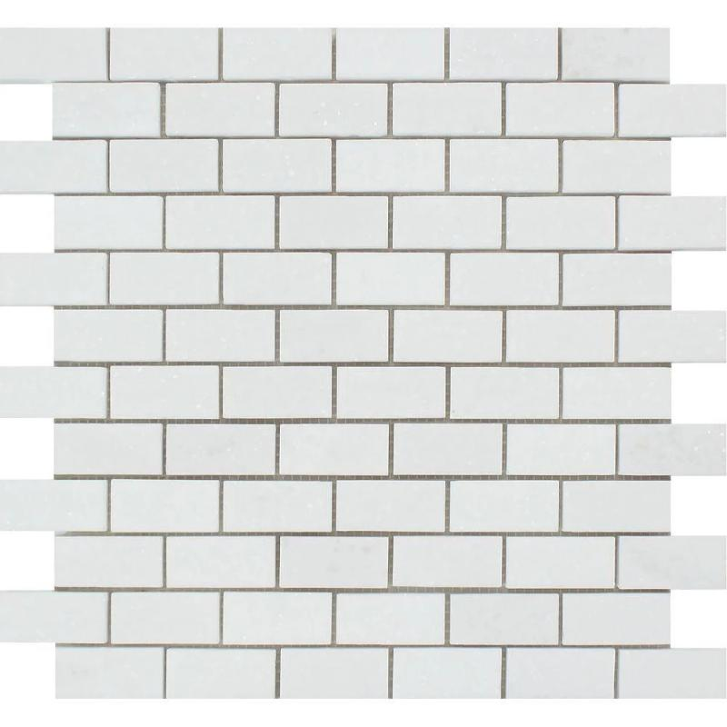 Thassos White Marble 1x2 Polished Mosaic Tile - TILE AND MOSAIC DEPOT