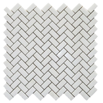 Thassos White Marble 1x2 Herringbone Honed Mosaic Tile - TILE AND MOSAIC DEPOT