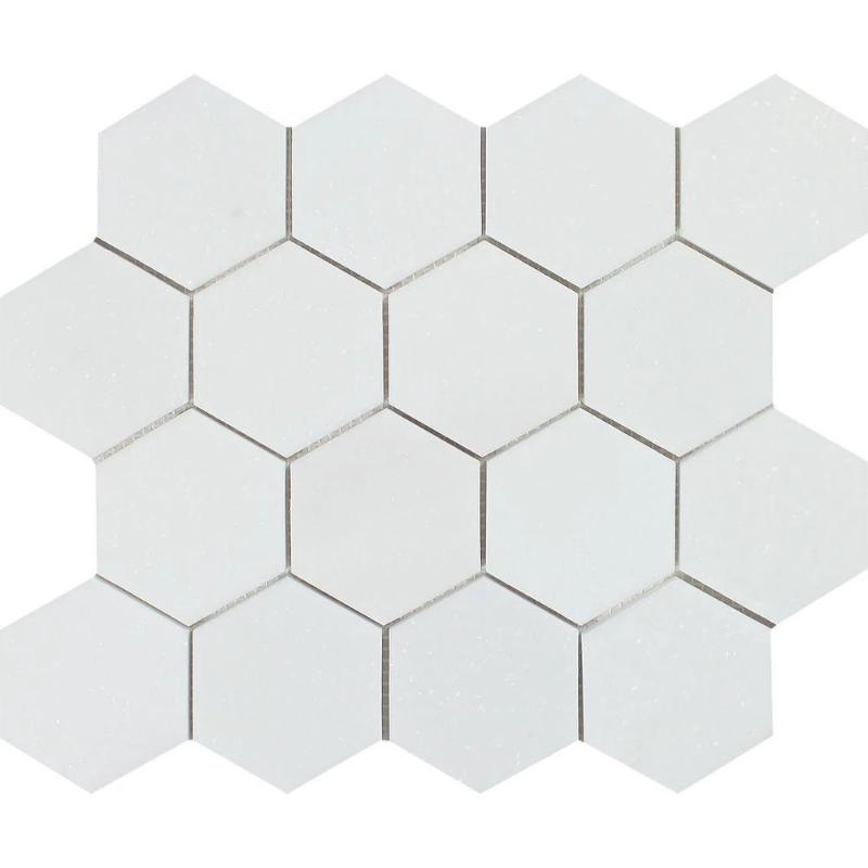 Thassos White Marble 3x3 Hexagon Polished Mosaic Tile - TILE AND MOSAIC DEPOT