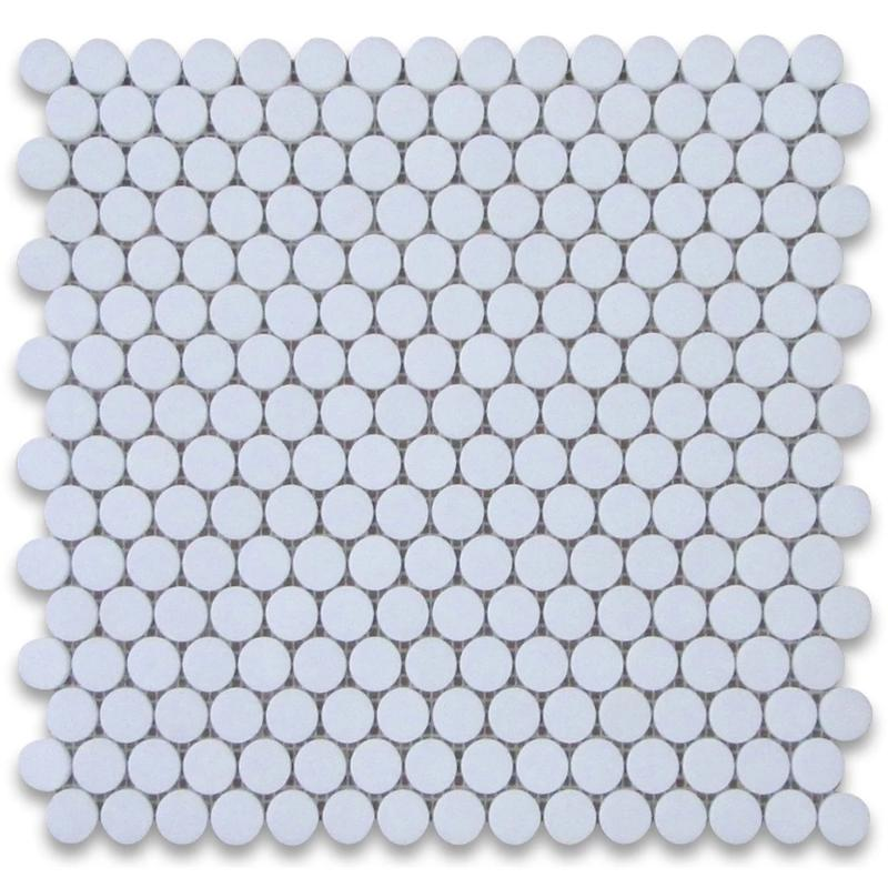 Thassos White Marble Penny Round Polished Mosaic Tile - TILE AND MOSAIC DEPOT