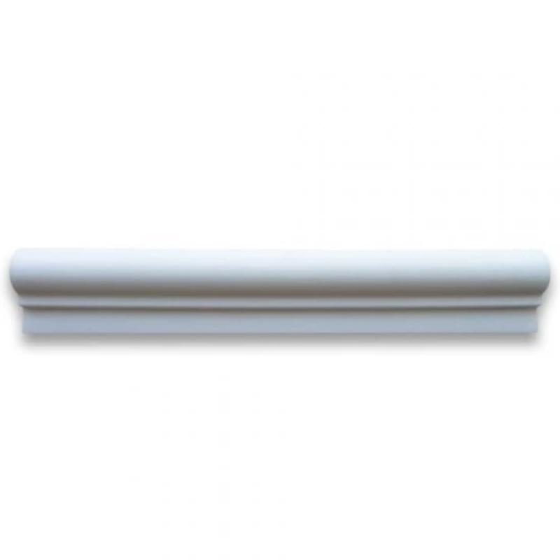 Thassos White Marble 2x12 Polished 1 Step Chairrail - TILE AND MOSAIC DEPOT