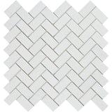Thassos White Marble 1x2 Herringbone Polished Mosaic Tile - TILE AND MOSAIC DEPOT