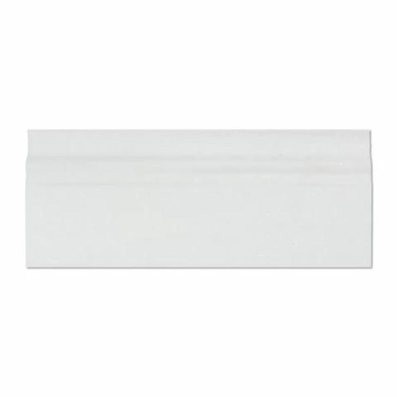 Thassos White Marble 4 3/4x12 Polished Baseboard Molding - TILE AND MOSAIC DEPOT