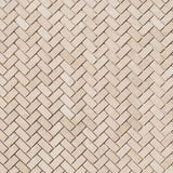 Ivory Travertine 1x2 Herringbone Tumbled Mosaic Tile - TILE AND MOSAIC DEPOT