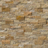 Scabos Travertine 6x24 Split Face Stacked Stone Ledger Panel - TILE AND MOSAIC DEPOT