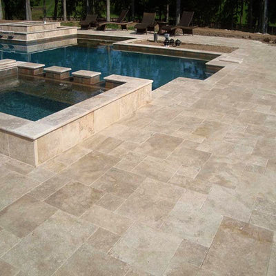 Walnut Travertine 3cm 12x12 Paver Tumbled - TILE AND MOSAIC DEPOT