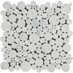 White Carrara Marble Bubble Design Honed Mosaic Tile - TILE AND MOSAIC DEPOT