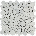 White Carrara Marble Bubble Design Polished Mosaic Tile - TILE AND MOSAIC DEPOT