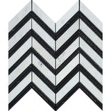 White Carrara Marble Chevron with Black Strips Polished Mosaic Tile - TILE AND MOSAIC DEPOT