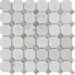 White Carrara Marble Octagon with Blue Dots Honed Mosaic Tile - TILE AND MOSAIC DEPOT