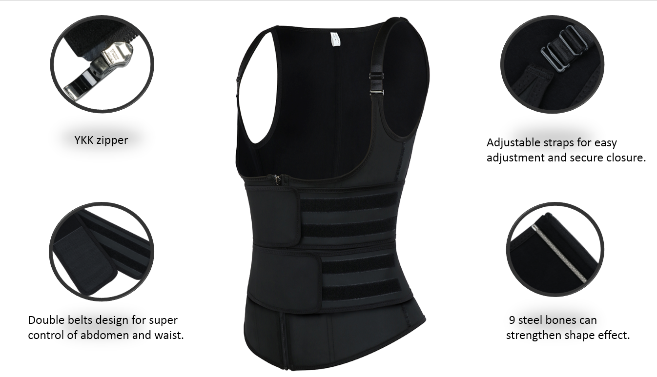 FeelinGirl Latex Double Belts Waist Trainer Vest