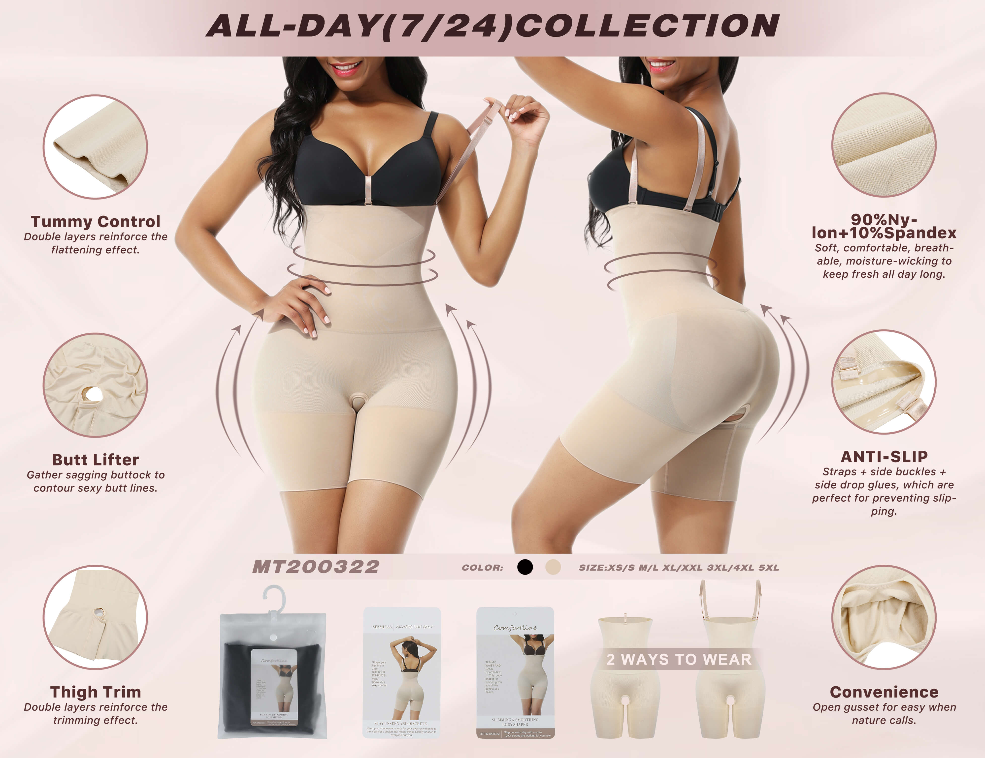 FeelinGirl Seamless Tummy Control Body Shaper Shorts