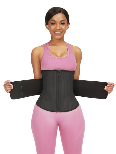 FeelinGirl 25 Steel Boned Latex Waist Trainer With Adjustable Straps