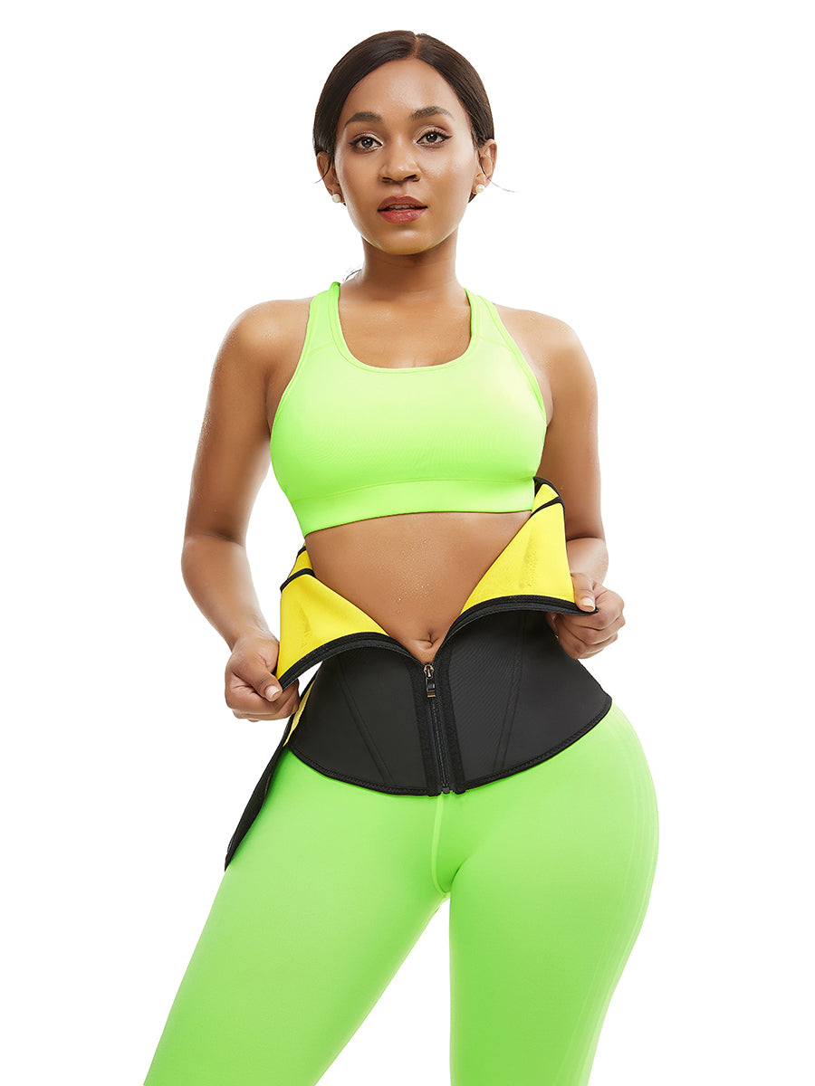 FEELINGIRL HIGH COMPRESSION WAIST TRAINER WITH ZIPPER SLIMMING BELT
