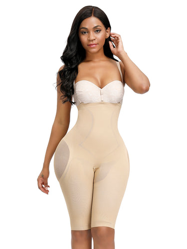 FeelinGirl High Waist Tummy Control Butt Lifter Shapewear Mesh Thigh Slimmer Knee Length Shorts - FeelinGirl