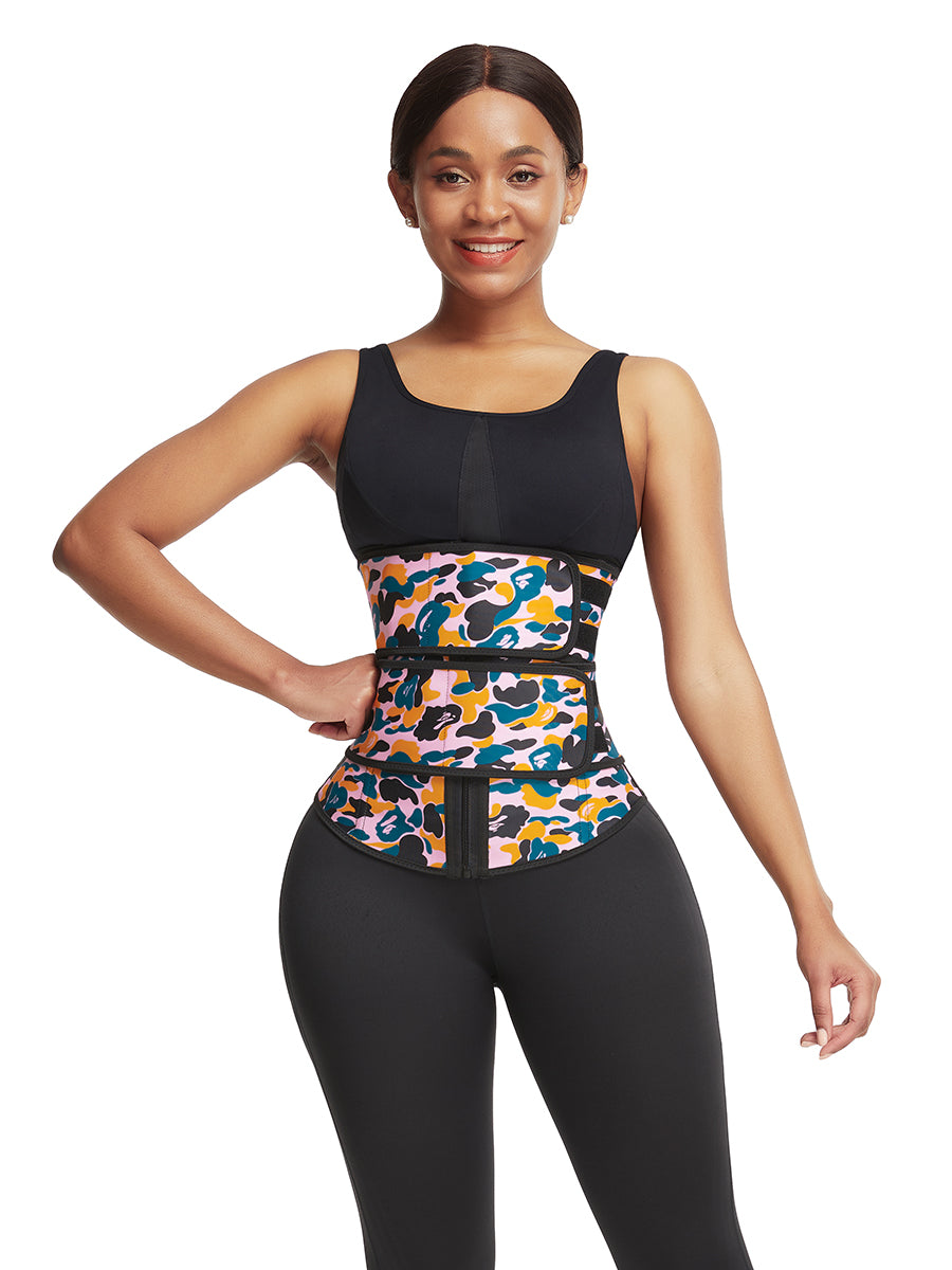 FEELINGIRL ZIPPER CAMOUFLAGE WAIST TRAINER STEEL BONED FITNESS WAIST TRIMMER BELT