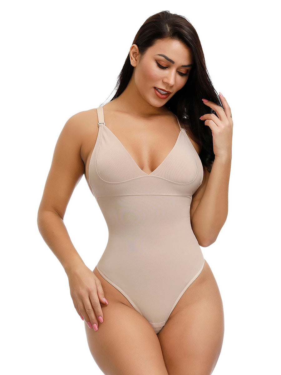 FEELINGIRL ADJUSTABLE STRAPS THONG BODYSUIT FOR WOMEN BACKLESS BODY SHAPER