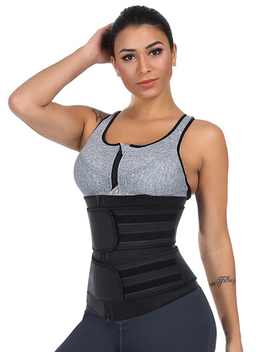 plus size waist trainer with zipper and straps