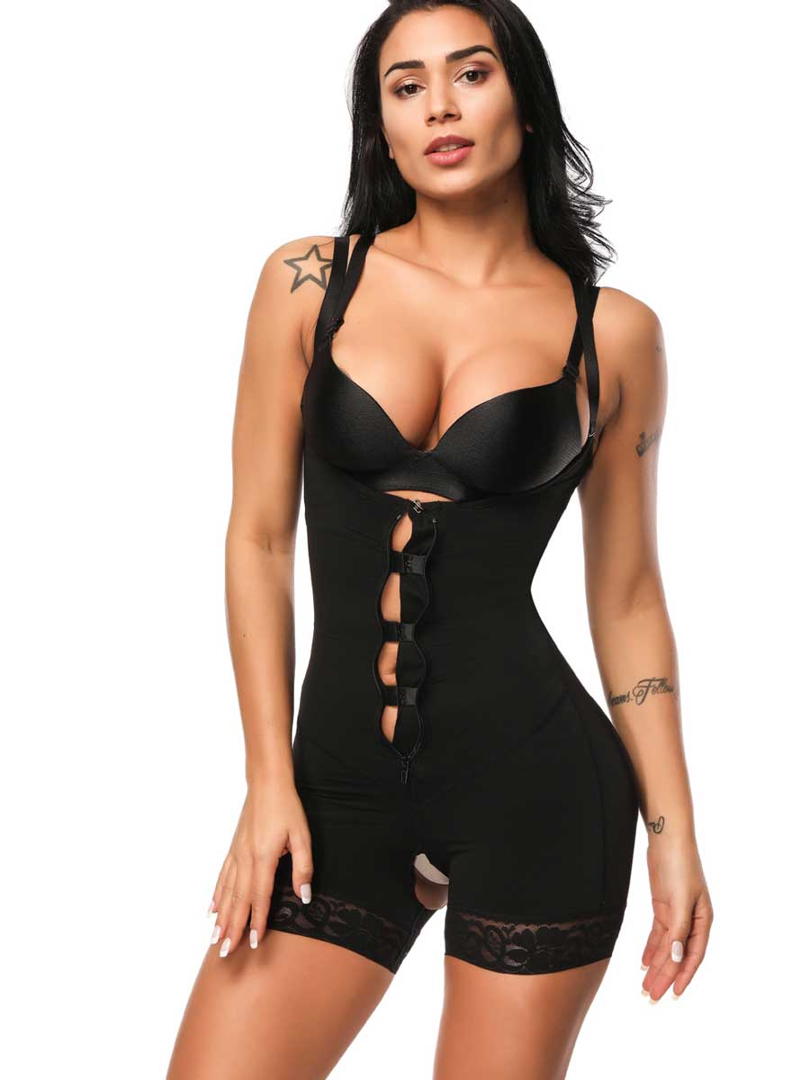 FeelinGirl Open-Bust Zipper Lace Bodysuit - FeelinGirl