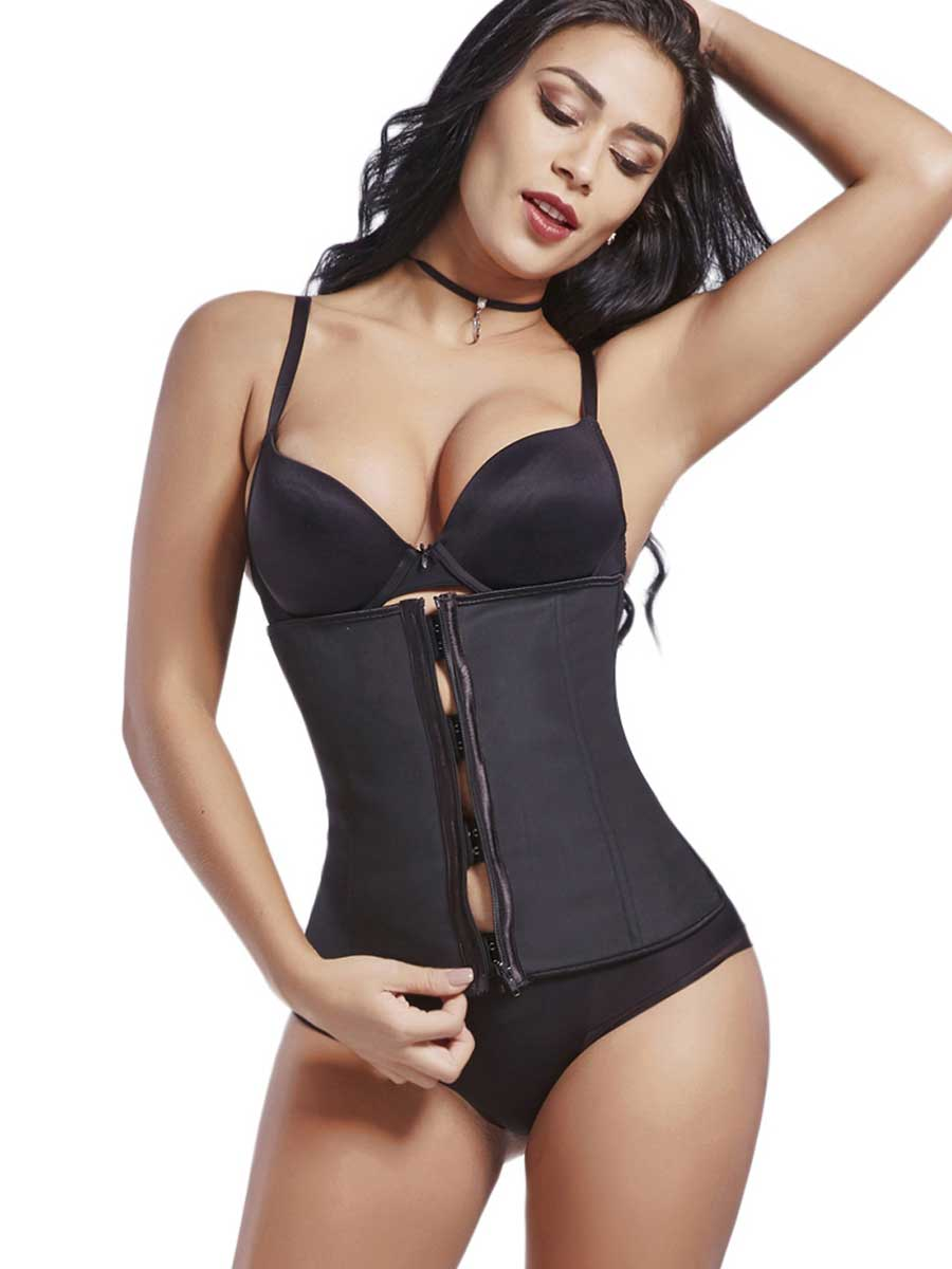 FeelinGirl Plus Size Waist Trainer With Zipper And Hooks - FeelinGirl