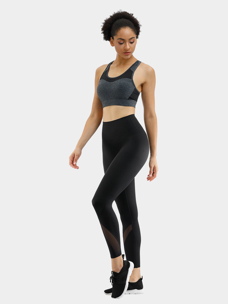 FeelinGirl Women's Black Mesh Fitness Leggings