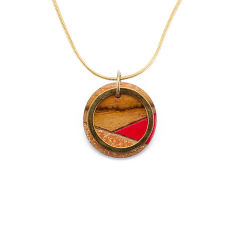 Conture Recycled Skateboard Wood Gold Chain Necklace
