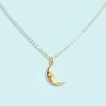 Gold Man Moon Hammered Necklace