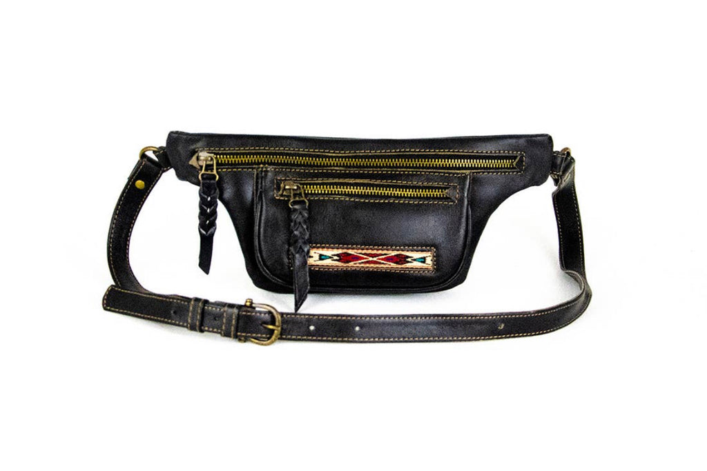Waxed Leather Fanny Pack in Black