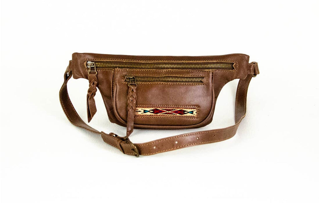 Waxed Leather Fanny Pack in Brown