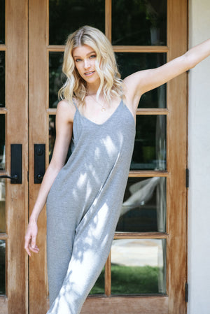 The Brigitte Jumpsuit Grey Micro Stripe