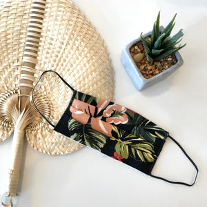 Black Tropical Pleated Face Mask