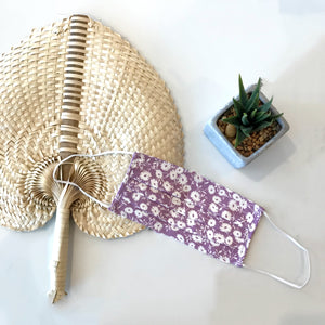 Purple Floral Pleated Face Mask