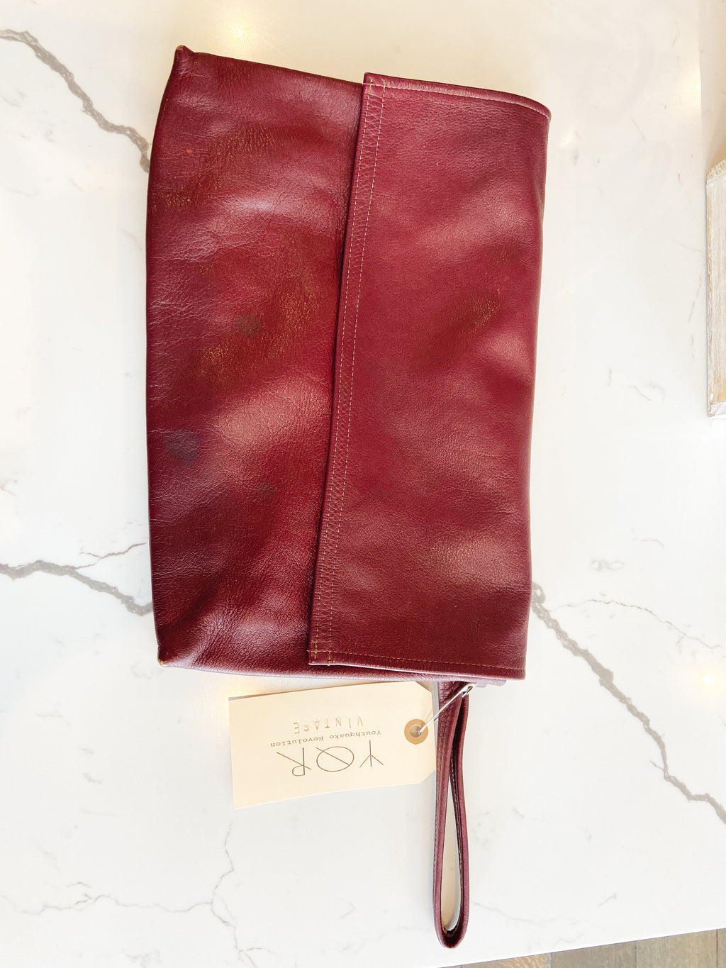 Leather Clutch Plum
