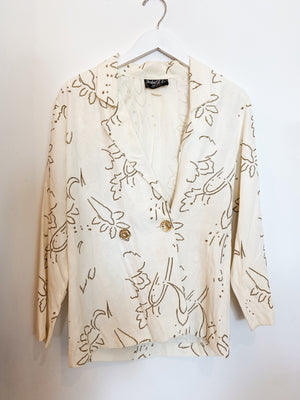 80s Blazer White & Gold