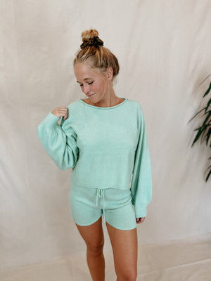 Knit Sage Long Sleeve Top