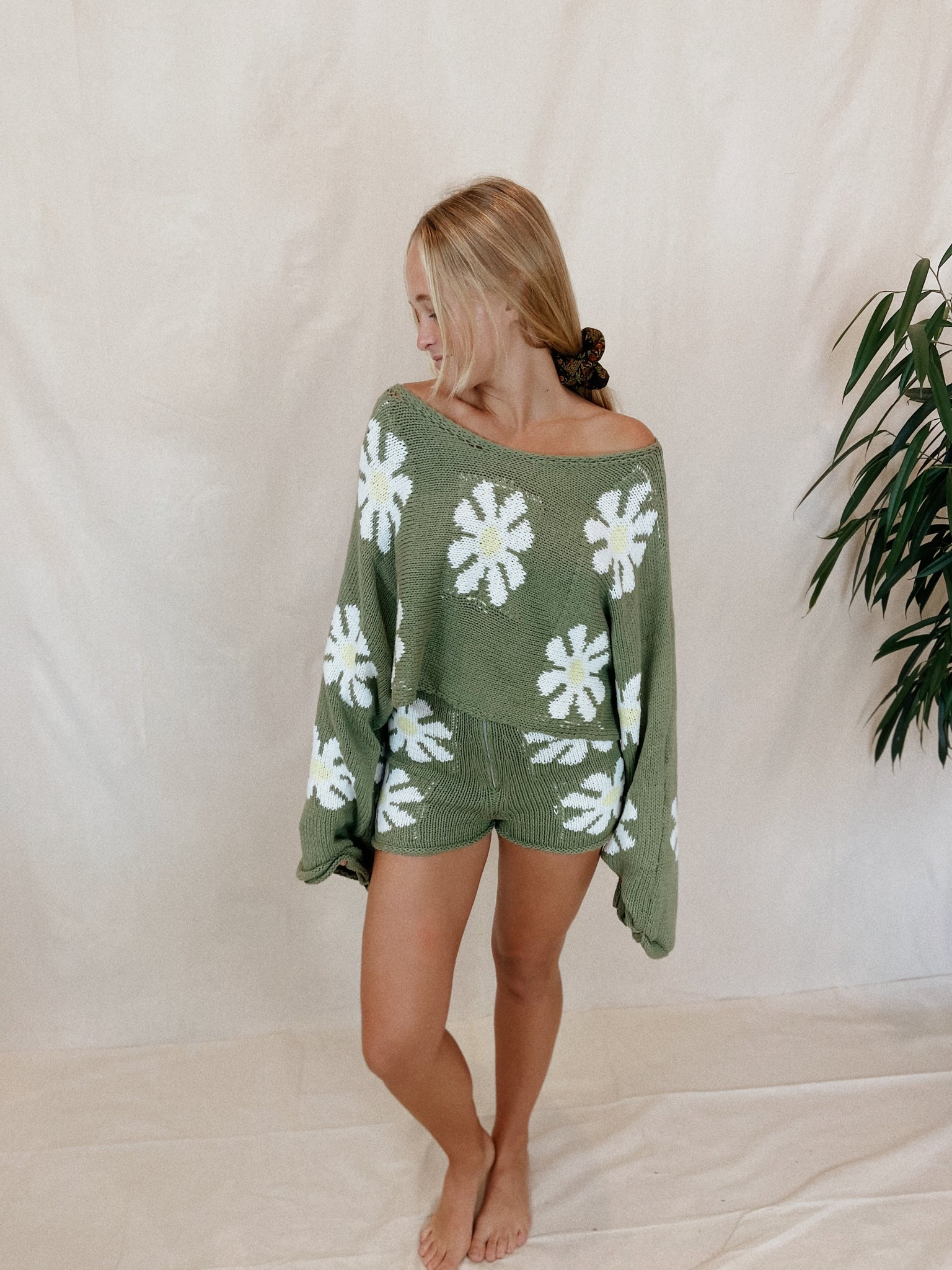 Sage Floral Sweater