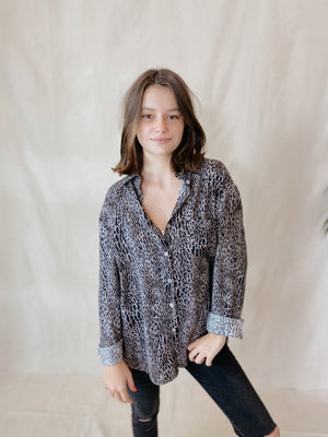 Charcoal Vintage Inspired Leopard Button Down