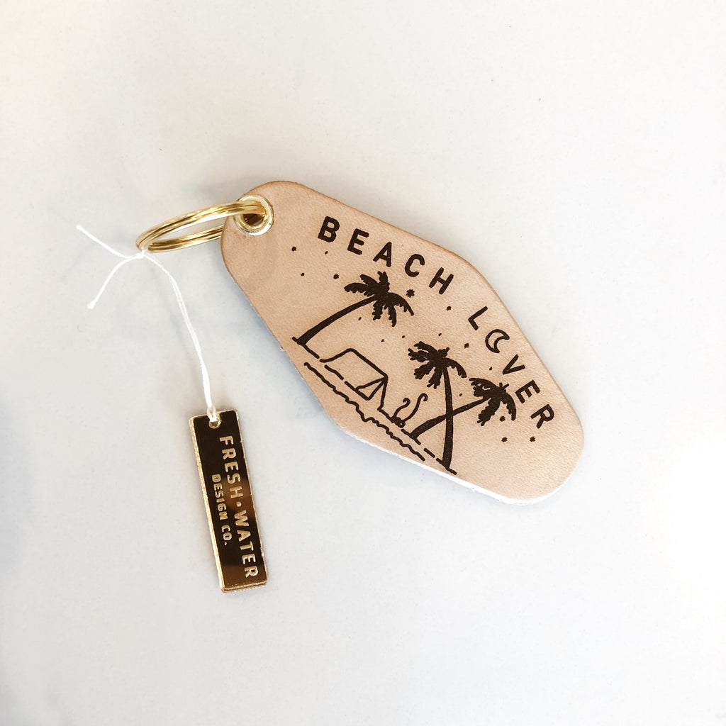 BEACH LOVER Leather Keychain