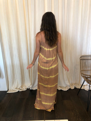 Tie Dye Dress Yellow & Brown