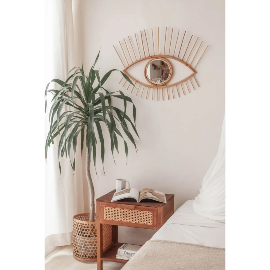 Open Eyes Rattan Mirror