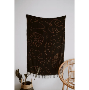 Monstera Tapestry Black + Clay
