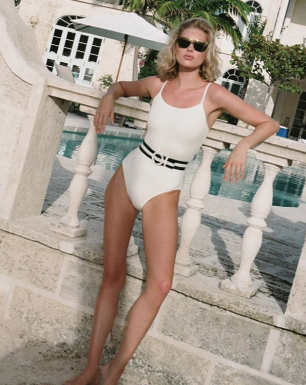The Nina Belted One Piece Swimsuit White