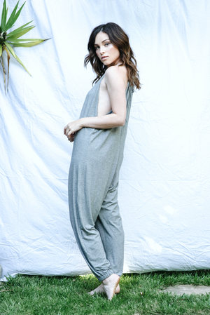 The Bianca Jumpsuit Grey Micro Stripe