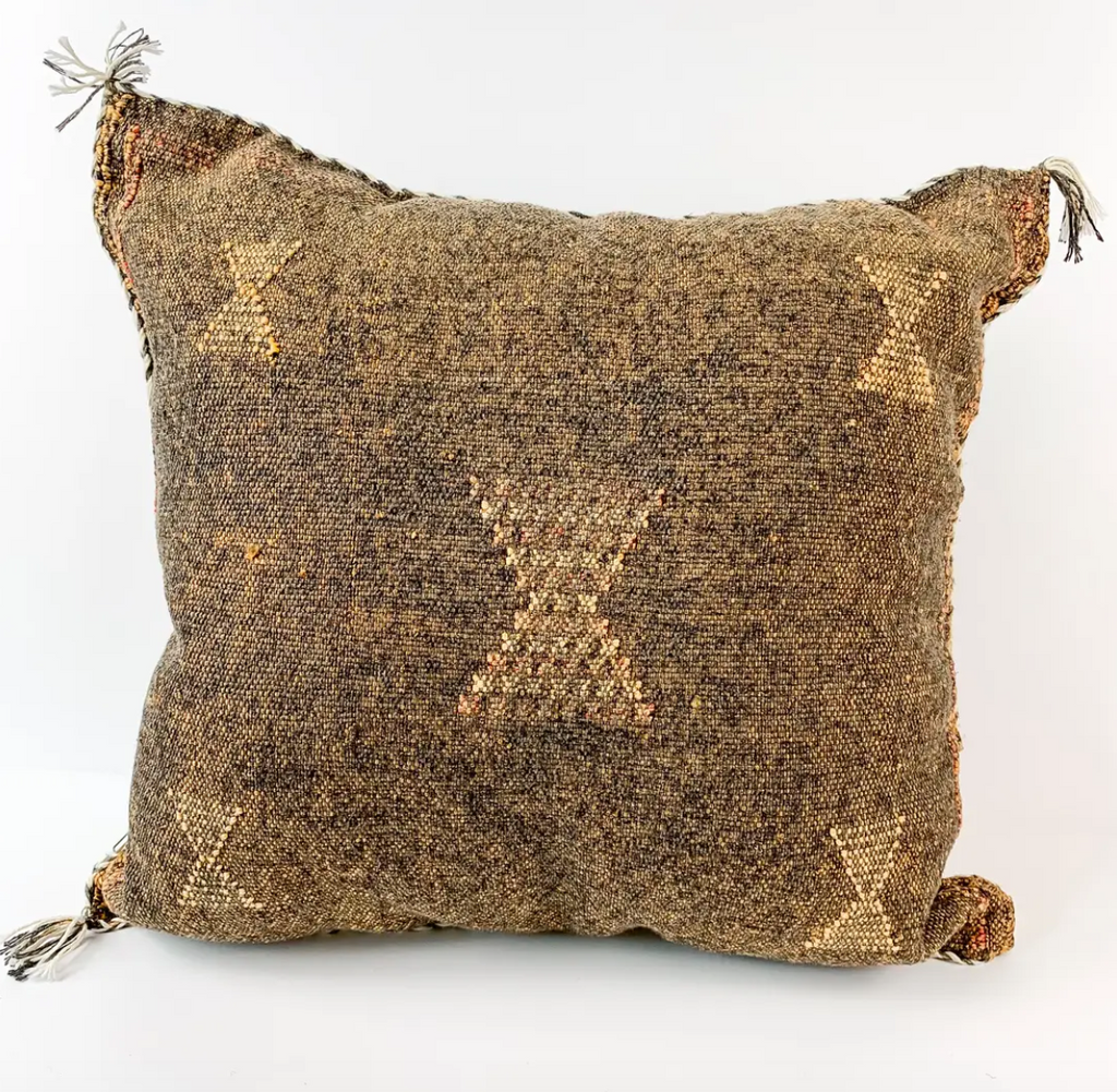 Brown Silk Sabra Pillow